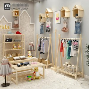 Children's clothing store display rack clothes Boxes simple solid wood racks wall mounted Storage box