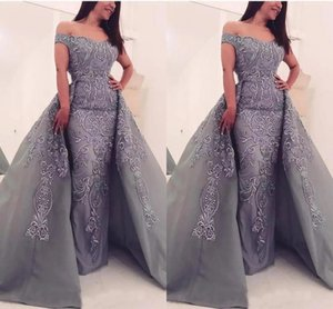 Gorgeous Gray Mermaid Evening Dresses With Detachable Train Long Abiye Applique Lace Formal Prom Dress Off Shoulder Runway Party Gowns Robe De Soiree