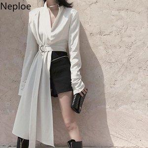 NEPLOE 2021 Harajuku jaqueta mulheres coreano moda irregular tops com decote comprido manga comprida magro cintura blazer temperamento casaco feminino mulheres jaquetas