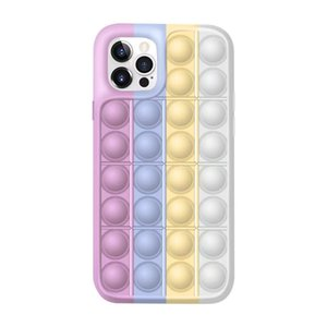 Funny Fidget Rainbow toy game push bubble Silicone Phone Cases for iphone 11 12 pro max designer case