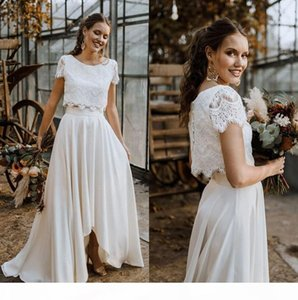 Two Pieces Lace Boho Wedding Dresses 2020 Short Sleeves Applique High Low Bridal Wedding Gowns robe de mariée With Buttons CPH0332