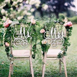 Mr And Mrs Bride And Groom Chair Sign For Wedding Rustic Wedding Wreath Party Table Decor Wedding Photo Props Personalized Gift 210408