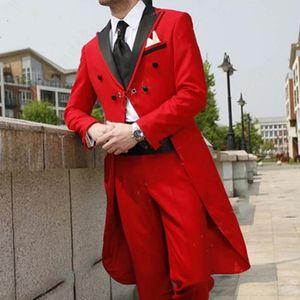 Мужские костюмы Blazers Осень мода красный хвостатый пальто свадьба для мужчин Последний дизайн Groom смокинг 2 набор формальный мужчина с черным пикам
