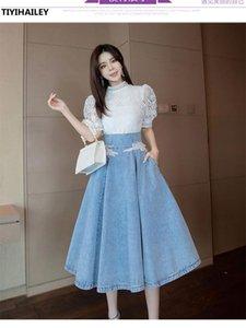 Skirts TIYIHAILEY 2021 Fashion Long Mid-calf Denim Skirt For Women S-3XL High Waist Summer A-line Lace