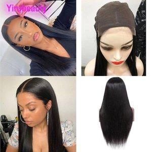 5 * 5 кружева фронт парик перуанских девственников человеческих волос 5x5 кружева фронт парики кузовной волна прямо натуральный цвет 20-32 дюйма средний размер кружева