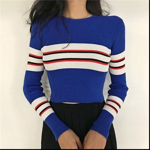 Autumn Women Sweater Striped O Neck Cropped Pullover Crop Top For Female