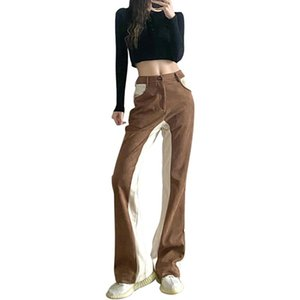 Sexy High Waist Long Pants Women Business Street Colorblock Patchwork Palazzo 2021 Spring Ins Wide Leg Women's & Capris
