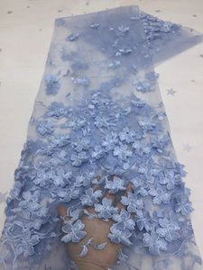 Embroidered African Net Lace Nigerian Fabric 2021 High Quality french Sequins Fabrics For WeddingBabyblue Mesh With 3D Tulle Wedding Materials Sewing