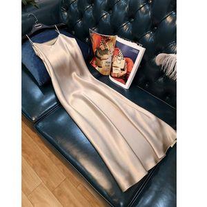 Casual Dresses Silk Plus Size XS-4XL Y2K High Quality Women Dress Summer Spaghetti Satin Long Woman Green Very Soft Smooth