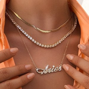 Multi Layer Zodiac Crystal English Letter Pendant Necklace 12 Constellation For Women 3Pcs Set Gold Chain Zircon Choker Statement Necklaces Beach Jewelry Gift