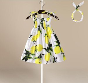 Summer girl's dress printed lemon suspender skirt