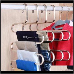 Holders Racks Housekeeping Organization Home Garden Drop Delivery 2021 3Pcs Hanger Multilayer Storage Wardrobe 5Layer Pants Rack Shelf Stainl