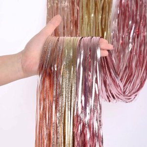 Arrival 2-3M Wedding Party Backdrop Decoration Frosted Curtains Fringe Tinsel Foil Matte Curtain Birthday Drapes