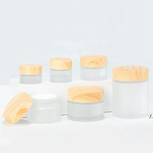 Frosted Glass Jar cream bottle Storage Boxes with imitation wooden lids 5G 10G 15G 30G AHB6265