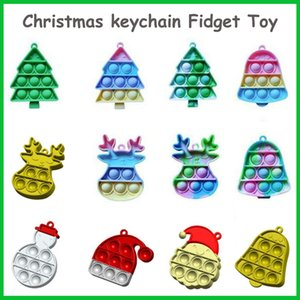 Christmas Fidget Toys Keychain Ghost-shaped Party Favor Ultime Rainbow Push Bubble Silicone Decompression Dimple Sensory Toy Gifts for Children