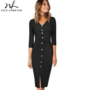 Niza-Forever Spring Women Fashion Color Pure Vestidos con botón Casual Bodycon Formado vestido femenino B616