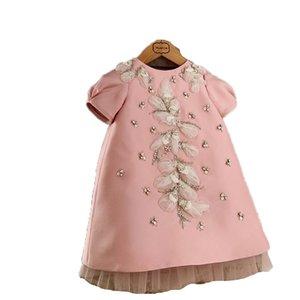 2021 جديد الطفل ألف خط جودة عالية الزهور التطريز الوردي عودة القوس توتو تول عيد ميلاد الذكرى الفتيات الأطفال حفل زفاف 790 x2