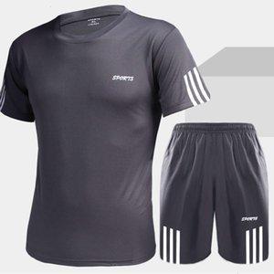 Swimwear summer leisure sports short sleeve shorts running two piece Men's suit