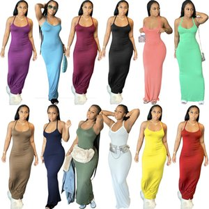 12 Colors Sexy Sleeveless Women Long Maxi Dress Fashion Summer Solid Color Skinny Stretchy Bodycon Pencil Dresses Clubwear Plus Size