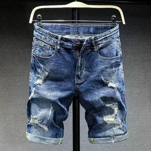 Männer Denim Shorts 2021 Mode Lässig Kurze Hollow Jeans Marke Kleidung Hohe Qualität Baumwolle Atmungsaktiv