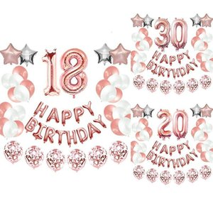 Happy Birthday Party Decorations Kit - Happy Birthday Balloon Banner, Number Balloon Mylar Foil, Rose Gold