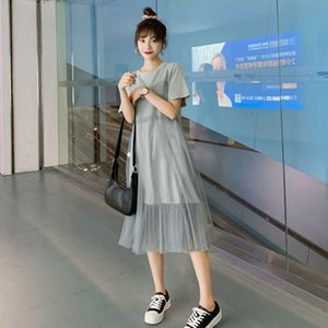 Popular summer 2021 new mesh splicing medium long short sleeve T-shirt skirt women's loose dress