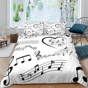 Home Living Luxury Music Notes Print 2 3Pcs Soft Duvet Cover PillowCase Queen Size And King Kids Bedding Set EU US AU Sets