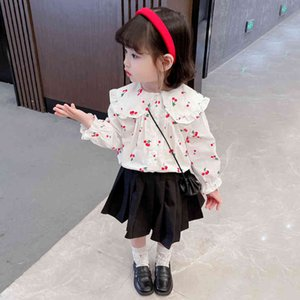 Girls Blouse Cherry Shirts For Girl Spring Autumn Children's Shirts For Girl Casual Style Children's Clothes For Girls 210412