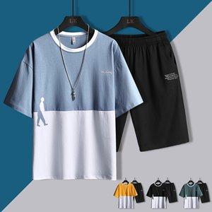Tracksuit Men Summer Shorts Sets Male Casual Wolkman Patchwork Loose Clothing Mens Short Sleeve Tshirt+Shorts 2PCS Sports Wear