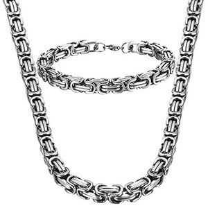 8mm width high quality stainless steel men bracelet necklace set silver color byzantine box chain jewelry NB889 773 T2