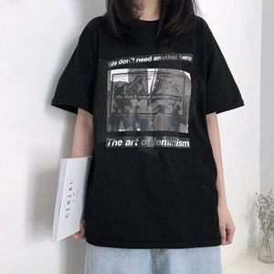 Women's T-Shirt Black Short-sleeved Female 2021 Summer Harajuku Style Student Loose And White Top