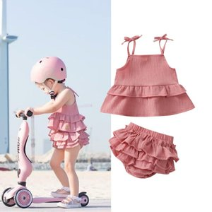 Clothing Sets 0-24M Toddler Baby Girls Clothes Summer Solid Color Flouncing Splicing Wide Hem Sleeveless Suspender Tops Lace Shorts Set