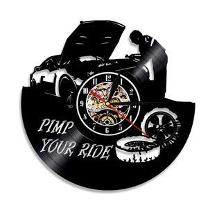 Garage Pimp Your Ride Repairing Tool Vinyl Record Wall Clock Car Service Car Wheel Quartz Wall Watch Home Decor Repairman Gift