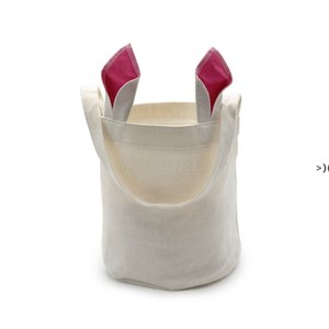 Sublimation Rabbit Ears Basket Party Linen Easter Bunny Bucket Candy Gift Storage Bag With Handle GWF11294