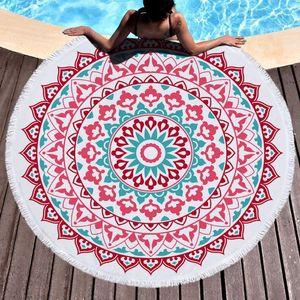 Microfiber Round Beach Towel With Tassel Spot Mandala Bohemian Summer Bikini Shawl Bohemia Mats Carpets