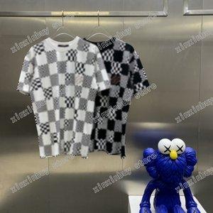 21ss men printed t shirts polos designer lattice camouflage paris clothes short sleeve mens shirt tag white black color