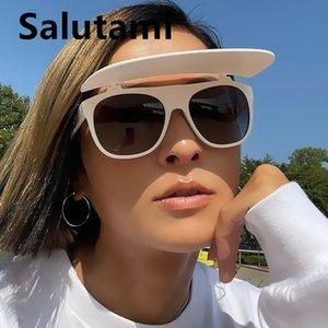 Уникальный роскошный бренд шляпа Flip солнцезащитные очки для женщин один кусок квадратный белый черный солнцезащитные очки мужчины хип-хоп солнечные очки