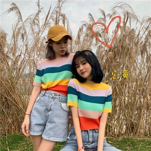 Women's T-Shirt Woman TShirts Rainbow Striped Knitted Short-Sleeved Summer Top Crop Mujer Camisetas
