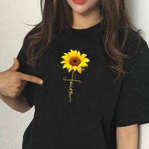 Zomer plus Größe Vrouw T-shirts Geloof Zonnebloem Drucken Kleding Vouwen Korte Mouw Ronde Hals Harajuku Femme T-shirts Y2k Tops