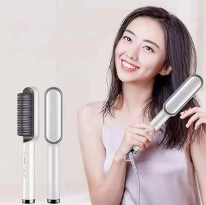 PH680 Temperture Control Hair straightener Anti-scalding 2 In 1 Curling Straight Dual Purpose Comb Negative Ion Lazy Straighteners