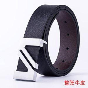 Belts Belt Men's Leather Smooth Buckle Cowhide High-grade Letter v Business Gift Pants Belt Young Men