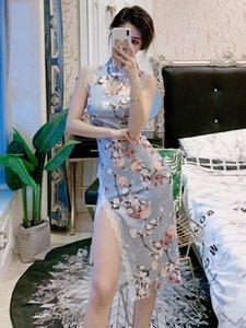 Летняя знаменитость секс ночной сцена самосовершенствования цвета улучшения среднего длинного вилкового кружева Cheongsam платья вскользь