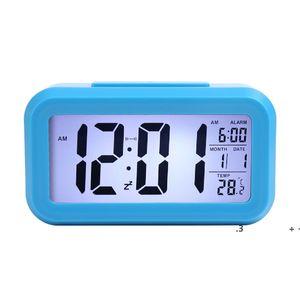 Smart Sensor Nightlight Digital Alarm Clock with Temperature Thermometer Calendar,Silent Desk Table Clock Bedside Wake Up Snooze EWE5906
