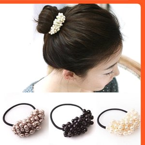 Women accessories Pearls Beads Horse-riding Headbands Holder Girls Scrunchies Vintage Elastic Hair bands Rubber rope Headgear