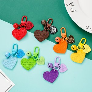 Creative Party Favor Leather Keychain Pendants PU Love Candy Color Bell Bag Accessories 13 Colors Can be Choose HHXD24599
