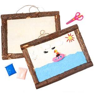 Clay Picture Frame Blank Bark Photo Frame Children's Creative Diy Handmade Wooden White Photo Frame Snowflake Mud Kindergarten