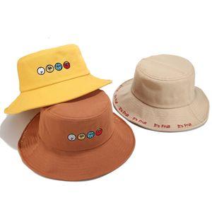 Hat girl autumn Fashion outdoor sunshade Big Brim fisherman hat tide cartoon fruit embroidery basin hat
