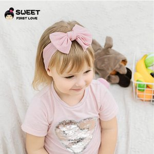 Solid 21 Colours Sports Kids Hair Band Bowknot Nylon Soft Cotton Child Elastic Force Hair Band Baby 17*8cm LLA726