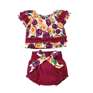 Clothing Sets Girls Outfits Baby Clothes Kids Coat Children Summer Cotton Flower Fruits Bloomers Shorts 2Pcs 0-3Y B4878