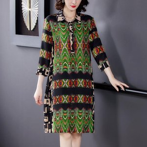 Spring Vintage Print Mulberry Silk Shirt Dress Summer 4XL Plus Size Beach Midi Sundress Elegant Women Bodycon Party Vestido Casual Dresses